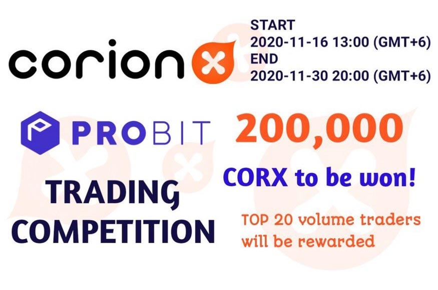 CorionX trading competiton on Probit Exchange