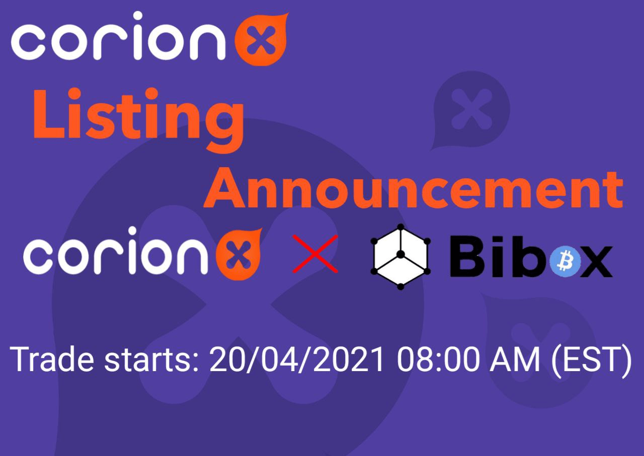 CorionX to be listed on Bibox Exchange
