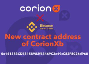 Change of CorionXb token contract address